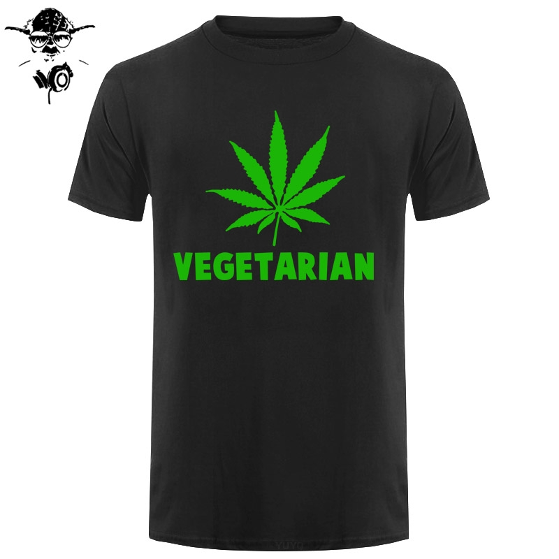 Vegan Vegetarian Weed Gift T Shirt For Men Women Animal Lover Statement T-Shirt Green Hemp Leaves Short Sleeve <font><b>Funny</b></font> <font><b>Tshirt</b></font> image