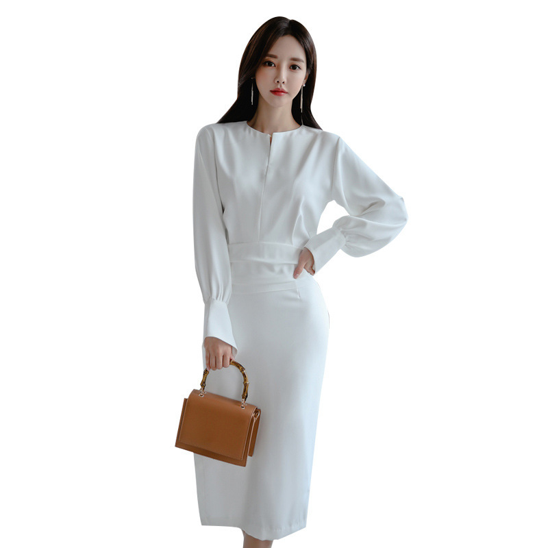 Simple Party Dress Women Formal Scoop Neck Spring Summer Long Sleeve Solid Straight Long Elegant White Sexy Dresses Robe Longue