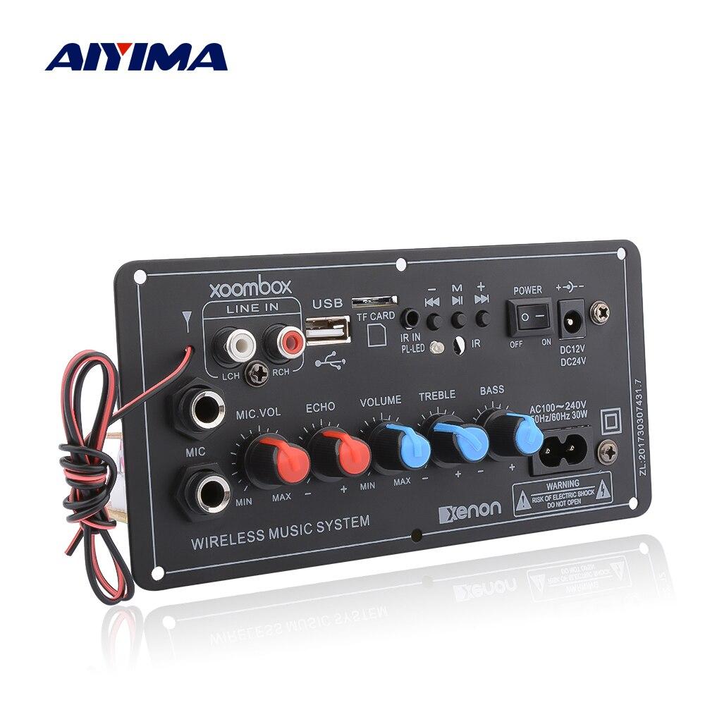 AIYIMA Subwoofer Digital Bluetooth Amplifier Board Dual Microphone Karaoke Amplifier Reverb 12V 24V 220V For 8-12 Inch Speaker