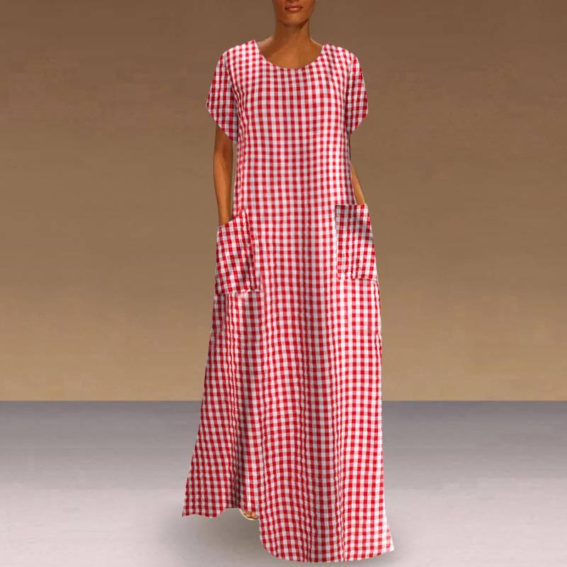 Women Vintage Bohemian Maxi Long Dress Summer Short Sleeve Plaid Loose Sundress Casual Pockets Plus Size 5XL Dress Robe