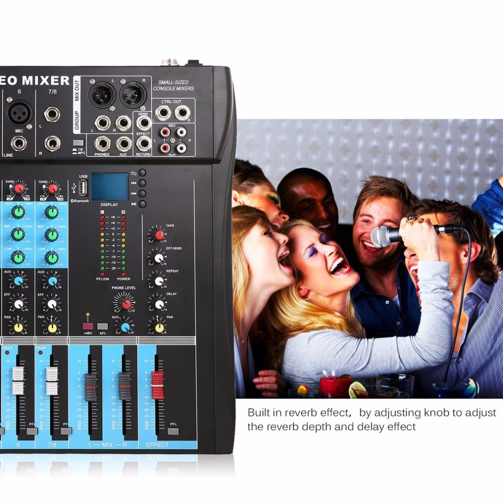 CT8 8 Channel Professional Stereo Mixer Live USB Studio Audio Sound Console Network Anchor Device Vocal Effect Processor - 5