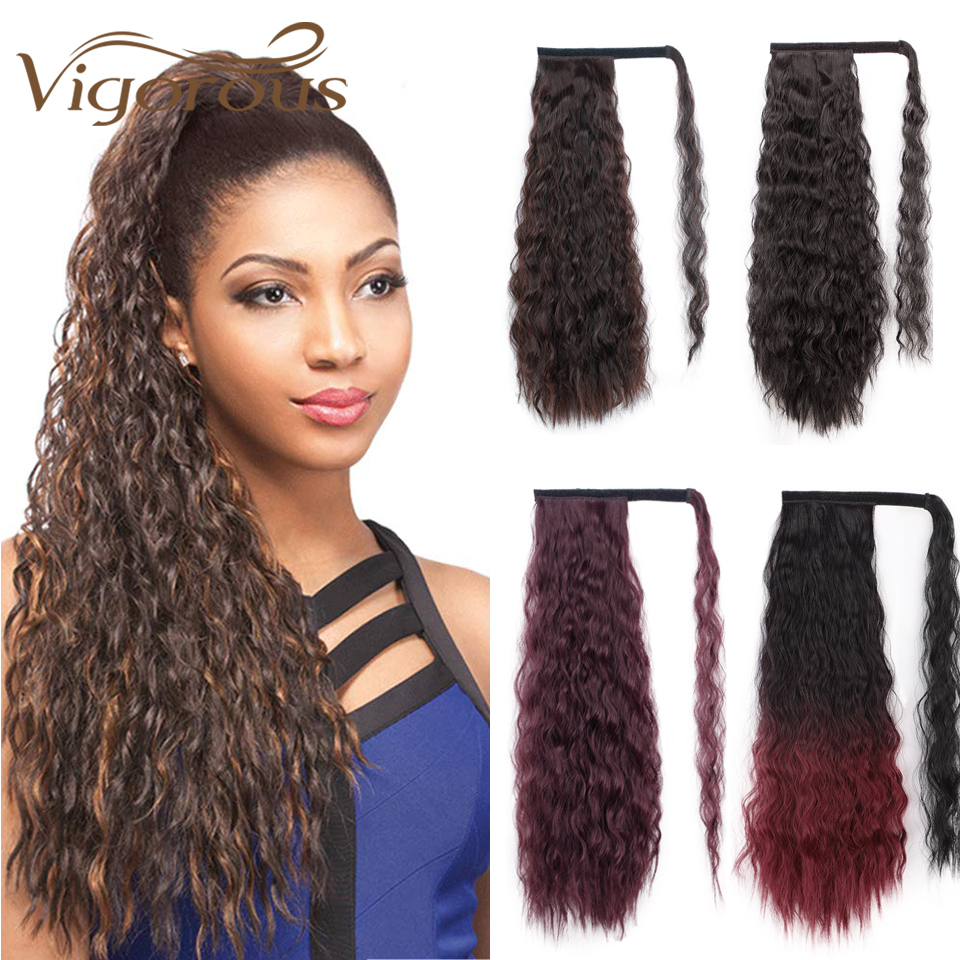 Vigorous 22inches Long Brown Wavy Ponytail Synthetic Heat Resistant Fiber Magic Paste Ponytail Hairpiece Around Black Fake Hair