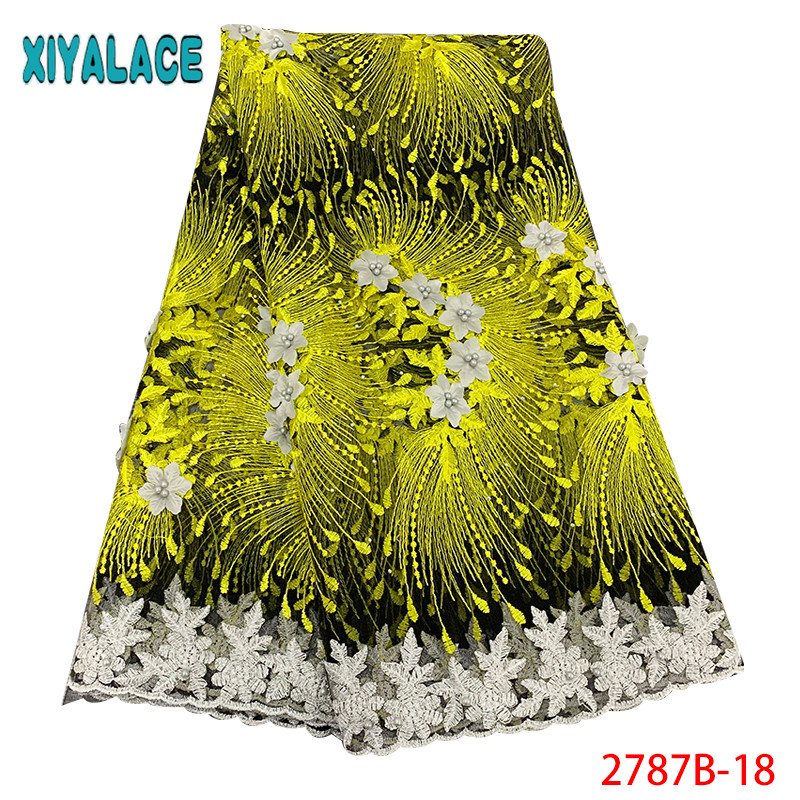 Latest Embroidered 3D Lace Fabric French Party Lace Fabric African Tulle Mesh Fabrics Laces With Beads For Women KS2787B-18