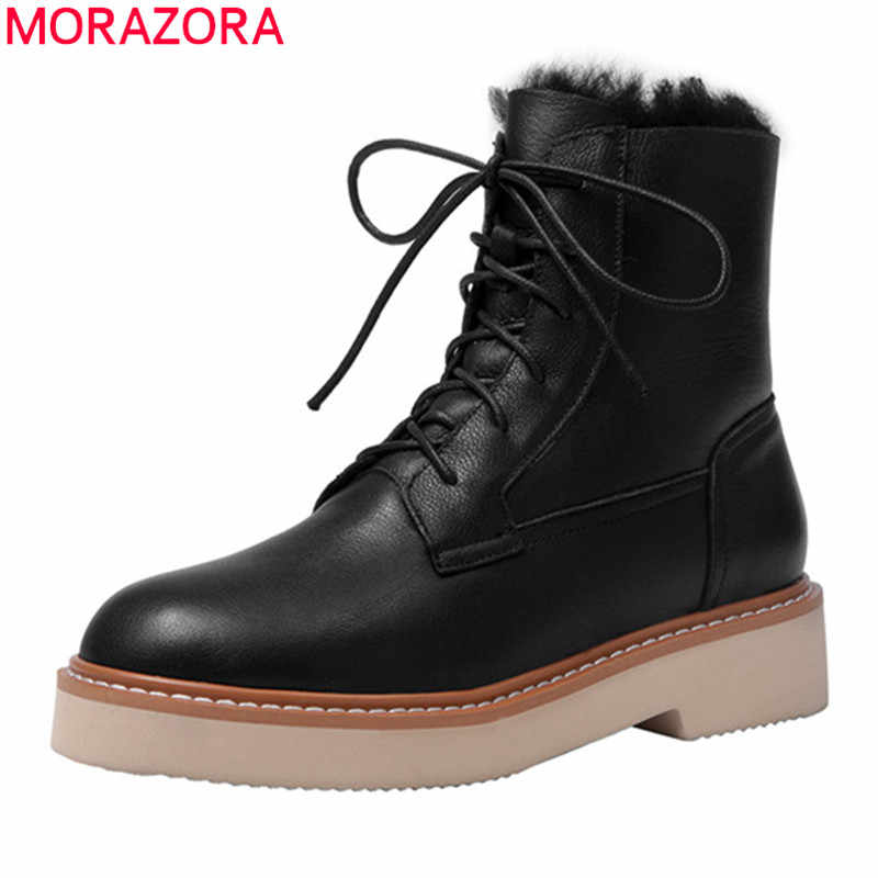 MORAZORA 2020 ฤดูหนาวขายของแท้รองเท้าหนังรองเท้าส้นสูงรอบ Toe Lace Up รองเท้าอุ่น 3 สีข้อเท้ารองเท้าสำหรับผู้หญิง