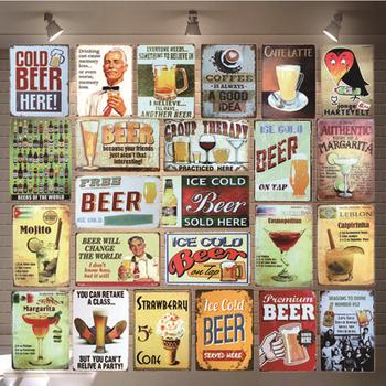 Zimny lód piwo koktajl znaki blaszane napój metalowa płytka ścienna Pub sklep restauracja kawiarnia artystyczna dekoracja do domu Vintage plakat Mwtal tanie i dobre opinie Europa Rectangle 20x30TP