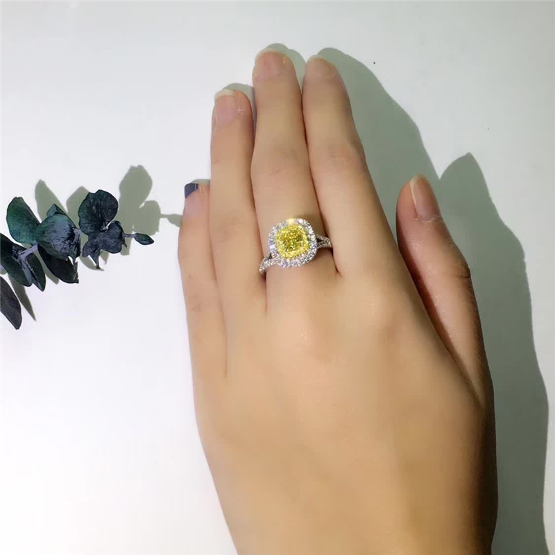 925 Sterling Silver Color Diamond Ring Princess Girl Square Yellow Diamond Topaz Gemstone Wedding Solid Silver Jewelry Rings
