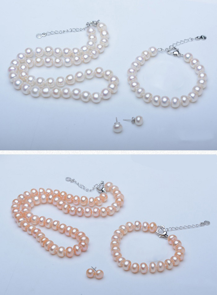 He60a48d24ee34db8890906c3e06cedd8E - Pearl Jewelry Sets Genuine Natural Freshwater Pearl Set 925 Sterling Silver Pearl Necklace Earrings Bracelet For Women Gift SPEZ