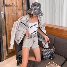 2019 Autumn silver distressed short denim jackets fashion cartoon embroidery women chic