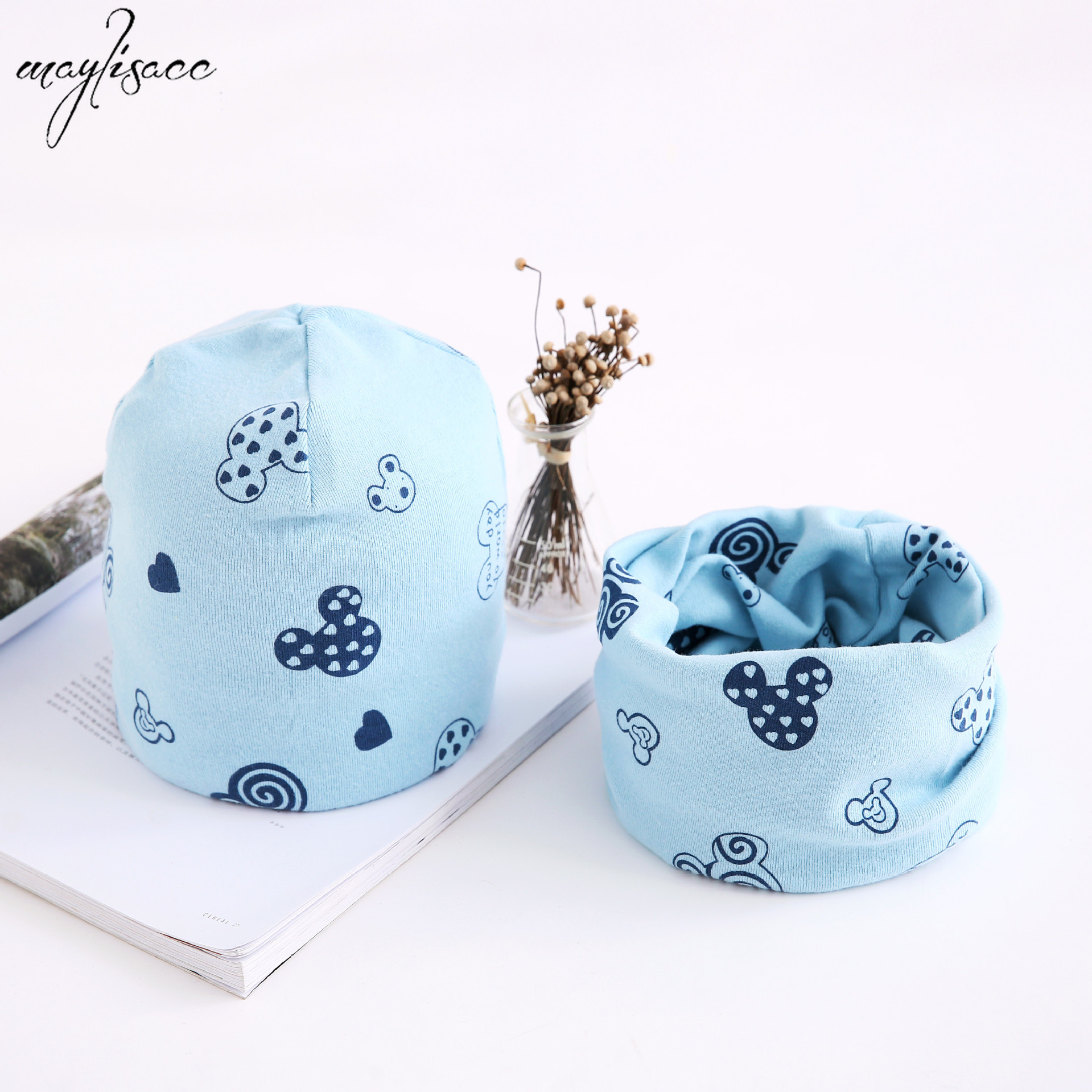 Maylisacc Autumn And Winter New Scarf Hat Two-piece Set 0-8 Years Old Baby Cotton Collar Hat Suit Children's Beanie Snood Sets