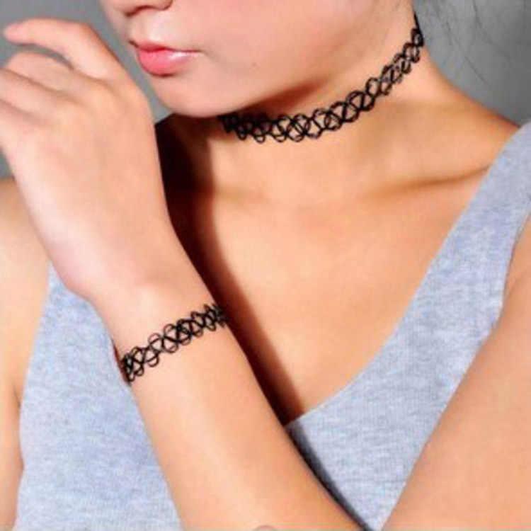 1 Set di Stile di Estate Collares Delle Ragazze Delle Donne Vintage Stretch Tattoo Choker Collana Set Retro Punk Gotico Elastico Regolabile Elastico
