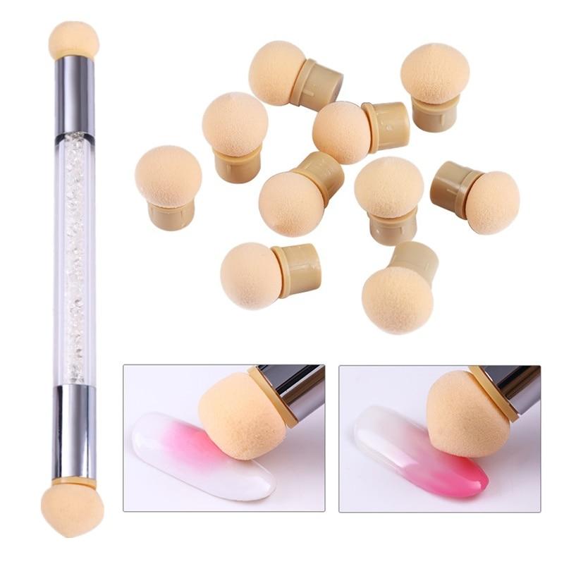 1 Pc Double-ended Gradient Shading Pen Dotting Brush Sponge Head Rhinestone Handle Nail Art Brush Nail Art Painting Tool
