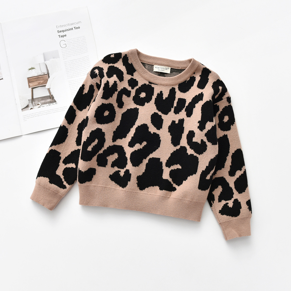 Image 4 - Kids Baby Boys Sweaters Leopard Knitted Pullover Casual Long Sleeve Childrens Tops Toddler Boy Clothes Baby Girl ClothesSweaters   -