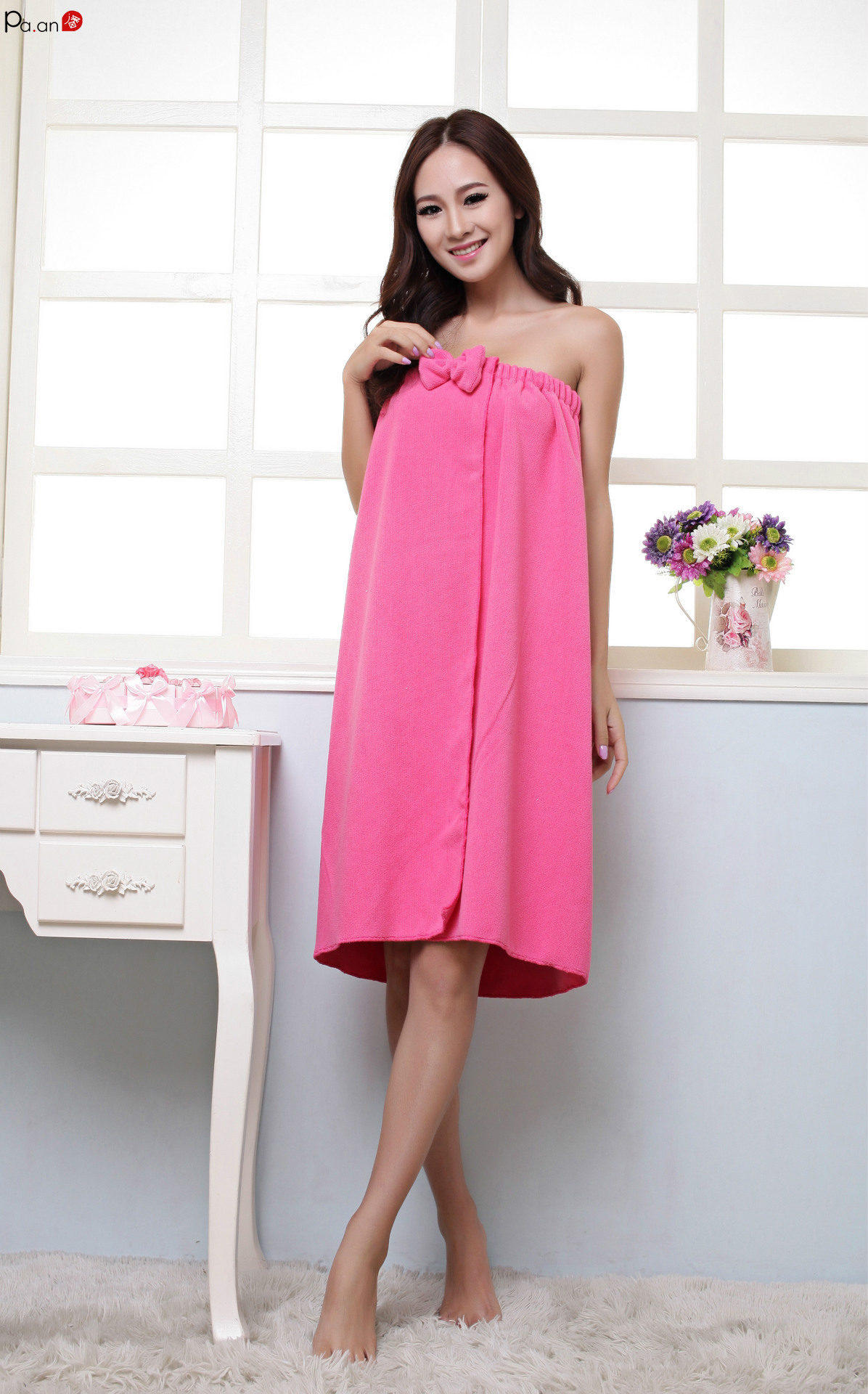Charming Tube Top Microfiber Bathroom Towels Cute Bowknot Bath Dress Sexy Beauty Salon Skirt for Pajama Party Towel
