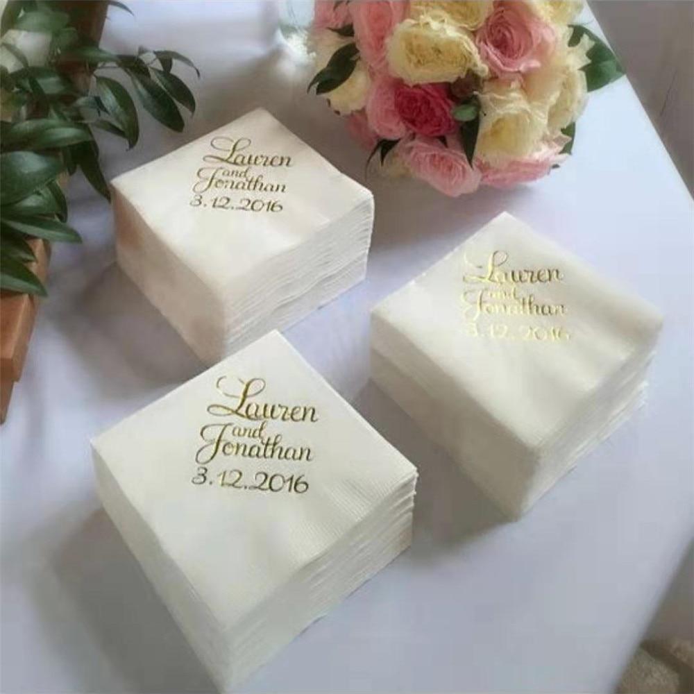 100Pcs/Lot Gold Printed Beverage Napkins Wedding Custom Napkins Baby Shower Bridal Shower Personalized Beverage Napkins