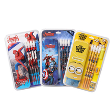 TOPSTHINK Super hero cute cartoon wood pen pencil set school stationery with pencil case