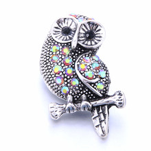 2019 New Snap Jewelry Big Crystal Owl Metal Snap Button Fit 18mm Snap Button Bracelet Bangles DIY Buttons Jewelry 6pcs lot 2019 new snap jewelry mixed colorful rhinestone crystal 18mm snap button jewelry fit snap bracelet diy charms jewelry