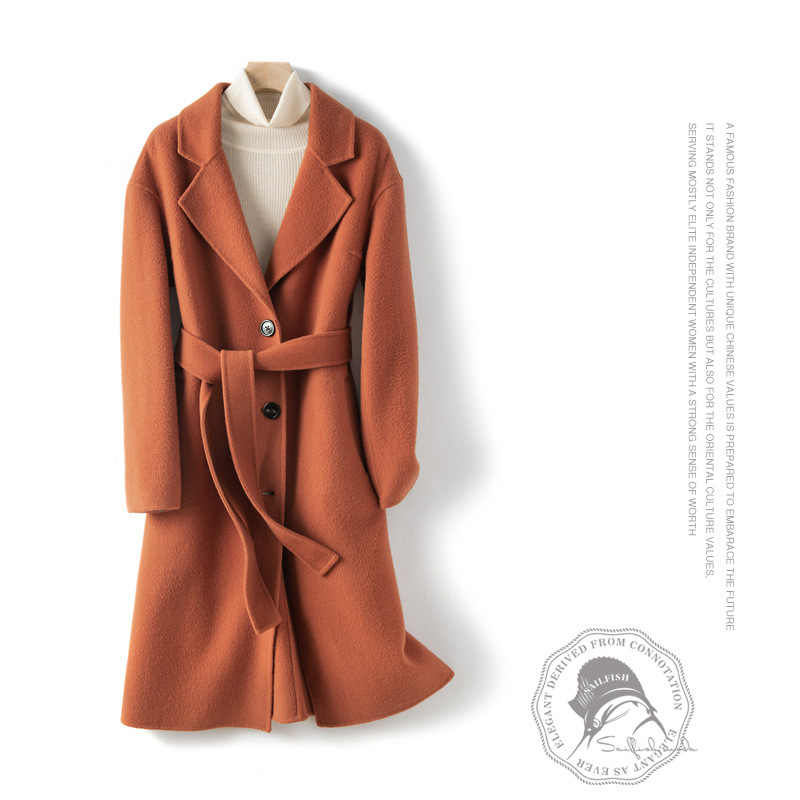 Charming orange warm all wool double-sided cashmere coat women long section of new winter woolen coat 19