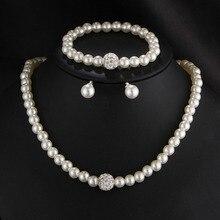 Womens Wedding Party Jewelry Set Rhinestone Faux Pearl Necklace Bracelet Earring For Women Jewerly Set стоимость