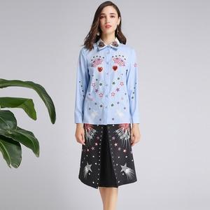 Image 3 - AELESEEN Ruway Gedrukt Office Lady Twinset Luxe Kralen Kraag Lovertjes Blauw Shirt Tops + Black Star Print Mid Kalf rok Set