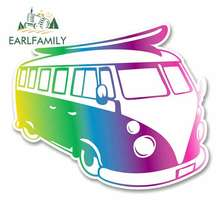 EARLFAMILY 13cm x Funny Car Stickers Comic Camper Van Cartoon Oem Waterproof Anime Vinyl JDM RV VAN 3D DIY Fine Decal