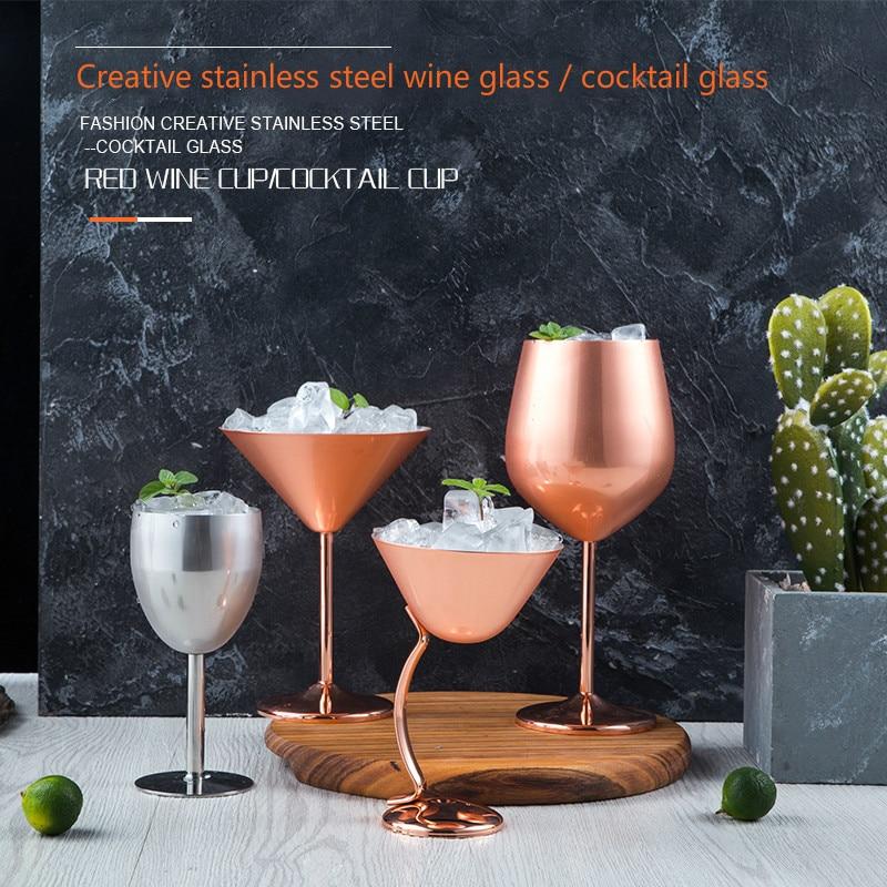 304 lampka do wina ze stali nierdzewnej całkowicie stalowy anty-upadek kieliszek do szampana metalowe stemware różowe złoto lampka do wina koktajl Martini glass