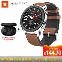 Wersja globalna Amazfit GTR 47mm inteligentny zegarek Huami 5ATM wodoodporna Smartwatch 24 dni pracy GPS sterowanie muzyką dla android ios