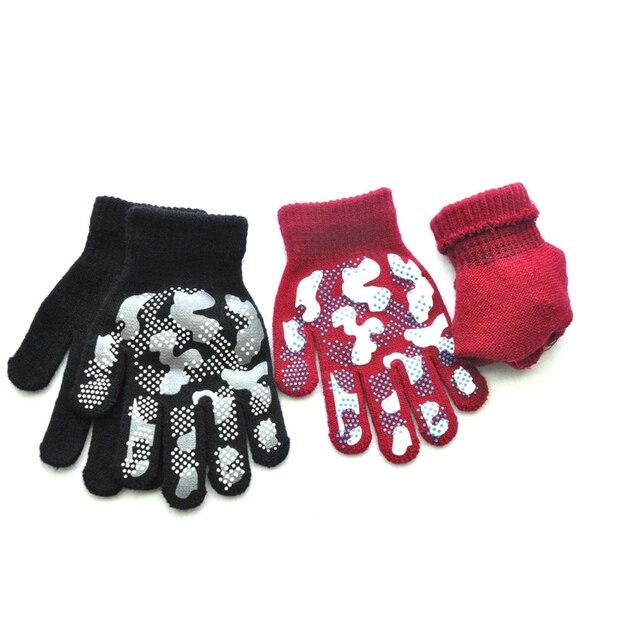 WARMOM 5-11 Year Children Winter Warm Knit Gloves Camouflage Color PVC Anti-slip Gloves Children Outdoor Sports Gloves Mittens 5