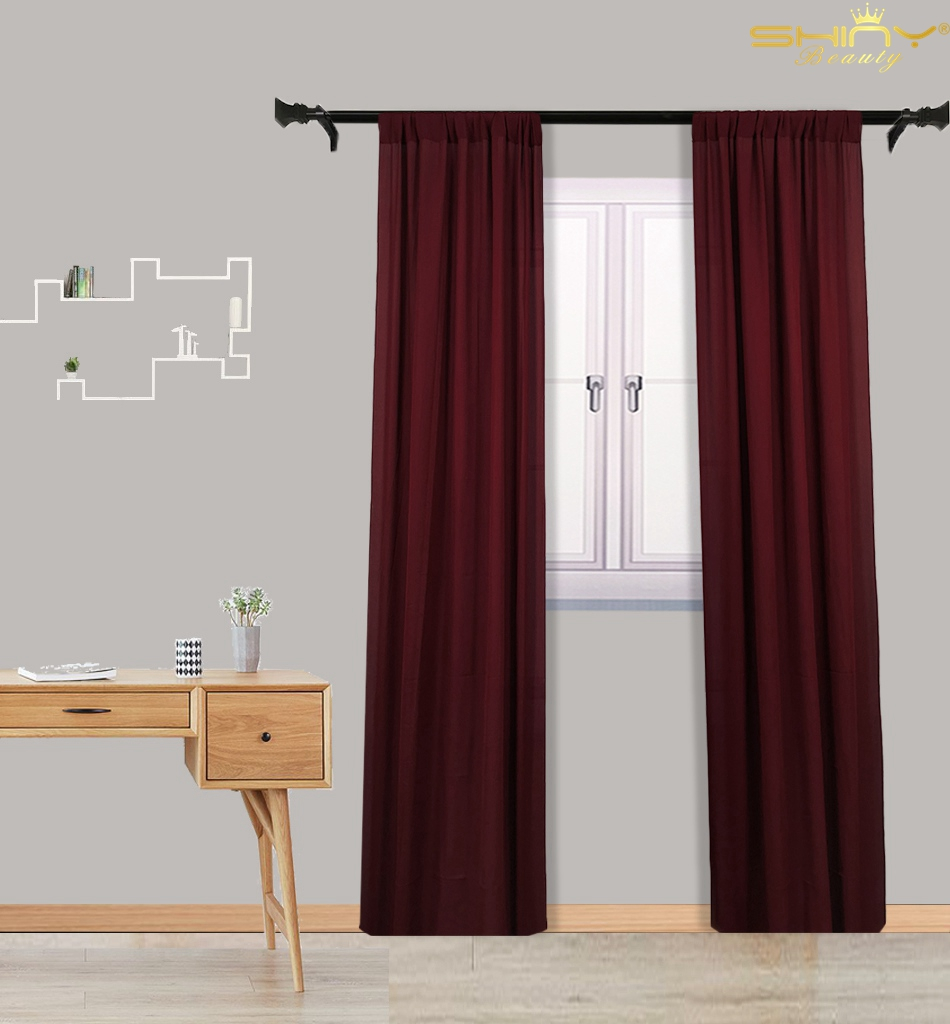 Burgundy Sheer Backdrop Curtains 108 Inches Chiffon Curtain Chiffon Photo Backdrop 29x108Inch Tulle Chiffon Window Decoration-M