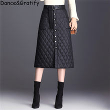 Autumn Winter White Duck Down Skirt Women Single Breasted High Waist Warm Skirt Ladies Plaid Pockets Skirts For Russian Canda(China)