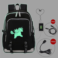Backpack Night Luminous Unicorn Multifunction USB Charging Laptop for Teenage Girls Funny School Bags Travel Rucksack
