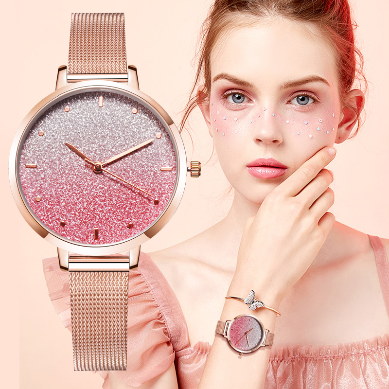 Fashion Women Quartz Pink Clock  Luxury Brand Watch Simple Rose Gold Stainless Steel Skeleton  Star Bracelet Dress Watches