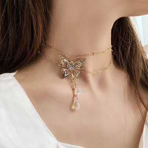 2020 New Arrival Women Sweet Retro Butterfly Crystal Double Chokers Necklaces For Women Fashion Metal Party Necklace