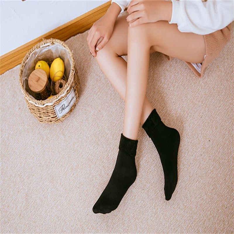 1 زوج معطف شتوي النساء رشاقته الحرارية الصوف الكشمير الثلوج الجوارب سلس المخملية الأحذية الطابق النوم المرأة الجوارب