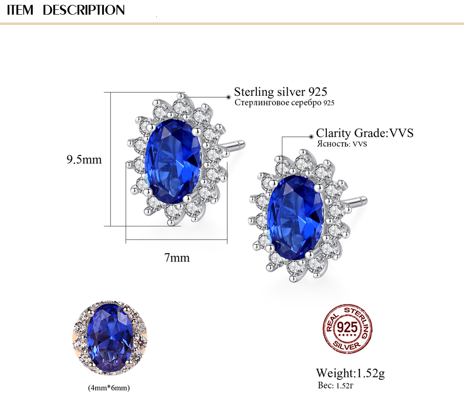 He60be932368f4357b2f26c1264c4f198U - CZCITY New Natural Birthstone Royal Blue Oval Topaz Stud Earrings With Solid 925 Sterling Silver Fine Jewelry For Women Brincos