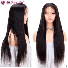 Полностью кружевные человеческие волосы парики для черных женщин прямые человеческие волосы парики предварительно выщипанные с детскими волосами отбеленные узлы Remy плотность 150