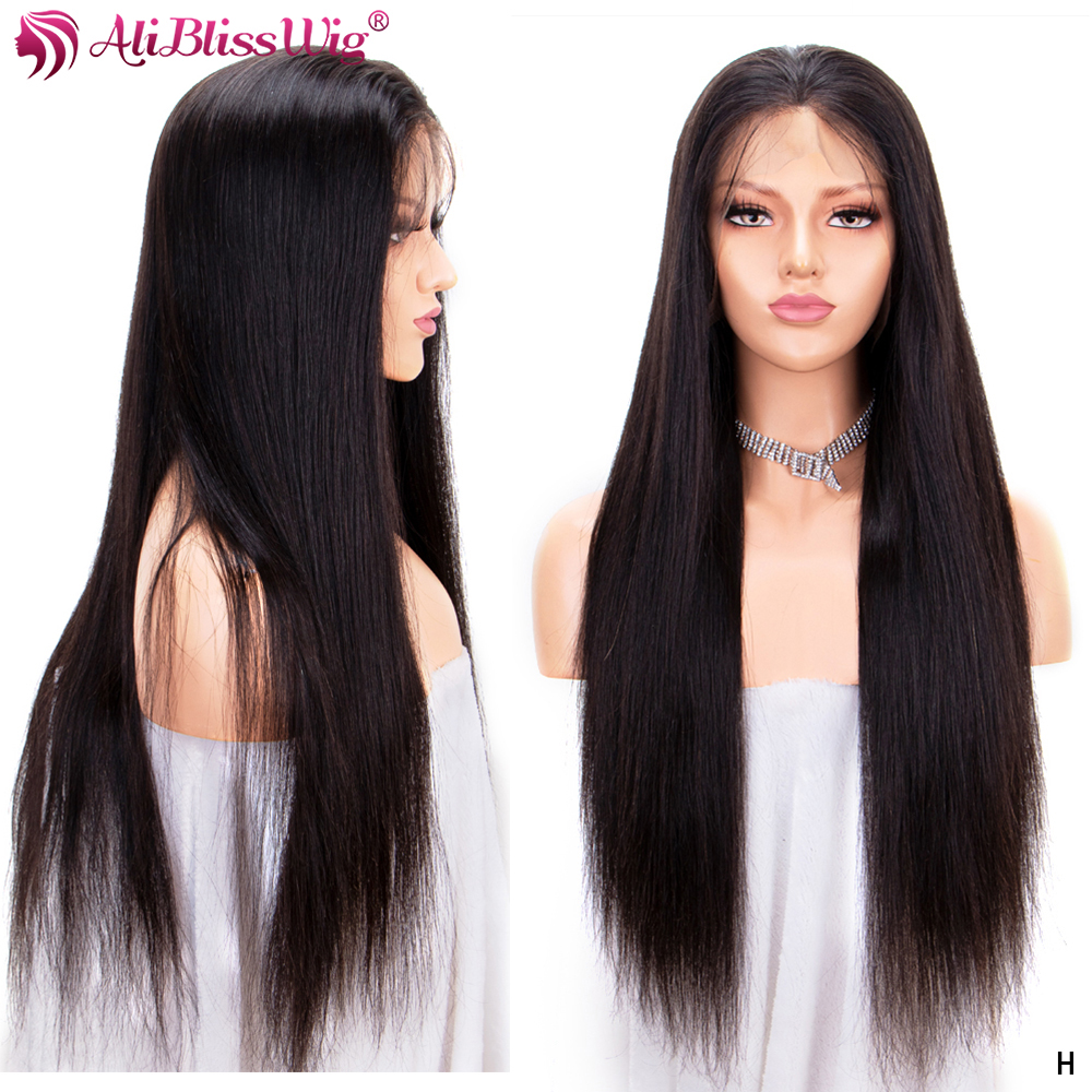 Full Lace Human Hair Wigs For Black Women Straight Human Hair Wigs Pre Plucked With Baby Hair Bleached Knots Remy 150% Density
