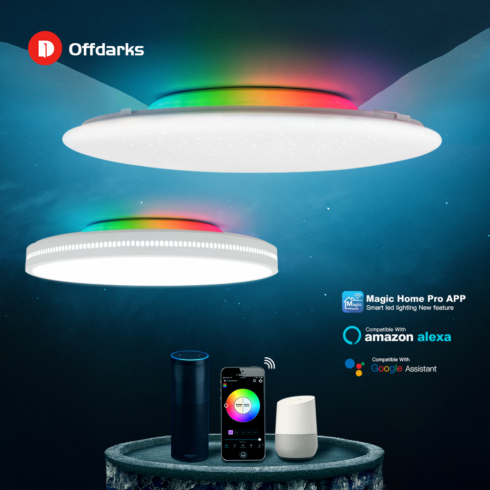 Offdarks 현대 led 스마트 천장 조명 wifi/app 지능형 제어 천장 조명 rgb 디밍 36 w/48 w/60 w/72 w