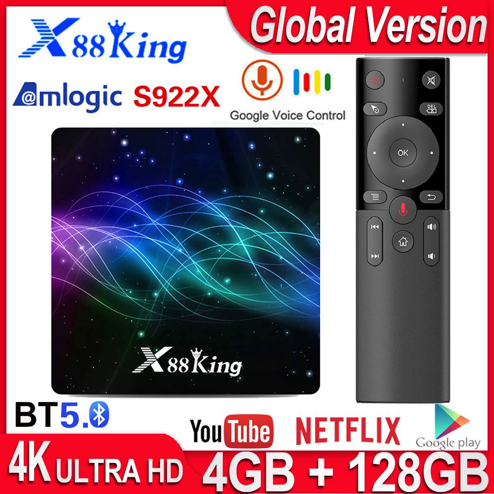 X88 King 4GB 128GB Amlogic S922X Smart TV Box Android 9.0 Dual Wifi BT5.0 1000M 4K 60fps USB3.0 Google PlayStore Netflix Youtube