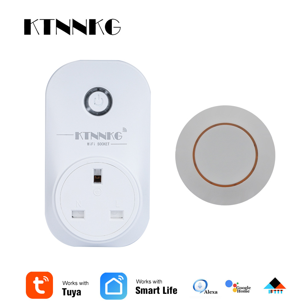 KTNNKG UK TUYA APP Remote Control Time Switch With RF Smart Socket Smart Memory Saver Can Be Used With Alexa / Google Assistant