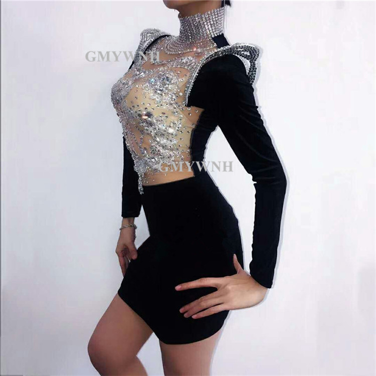 X72 Singer stage dance costumes rhinestones female sexy dress long sleeve crystal hip skirt disco party wears host clothe sleeve