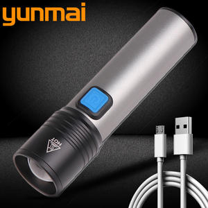 Yunmai LED Flashlight Battery Scout-Torch Rechargeable Small Carry-4-Modes Easy Built-In