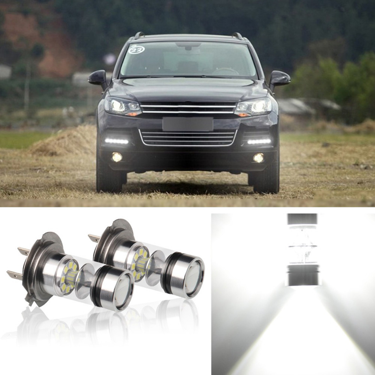 1PCS Car Led H4 H7 H8 H11 LED 9005/HB3 9006/HB4 Fog Lights White 100W Bulbs 20 SMD Lamp Driving Turning Ampoule