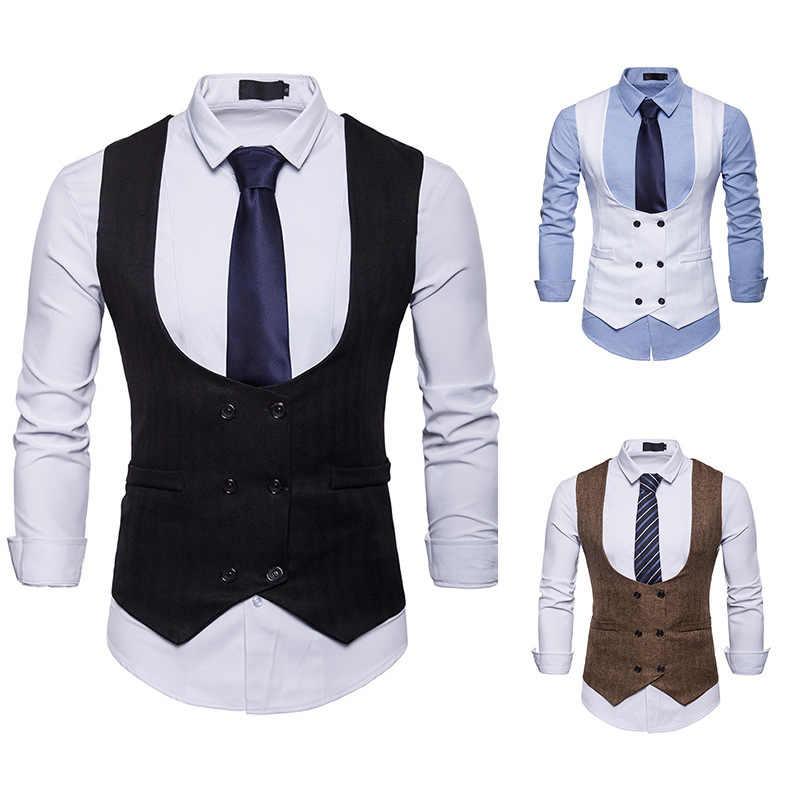Mens Slim Business Brown Waistcoat Champagne Wool Herringbone Tweed Suit Vests Sleeveless Suit Jacket For Wedding