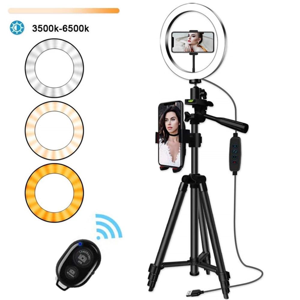 Anneau LED pour selfie avec trépied, lampe support pour vidéo de téléphone, éclairage de photographie pour Youtube