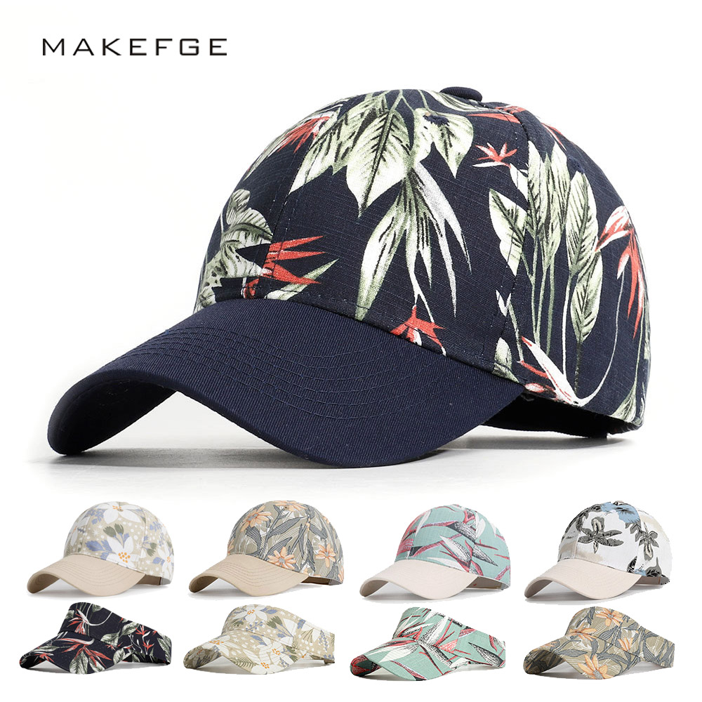 New Men's And Women's Baseball Caps Solid Print Ladies Hats Shade Couple Hats Outdoor Stretch Cotton Flowers Leaves Baseball Cap