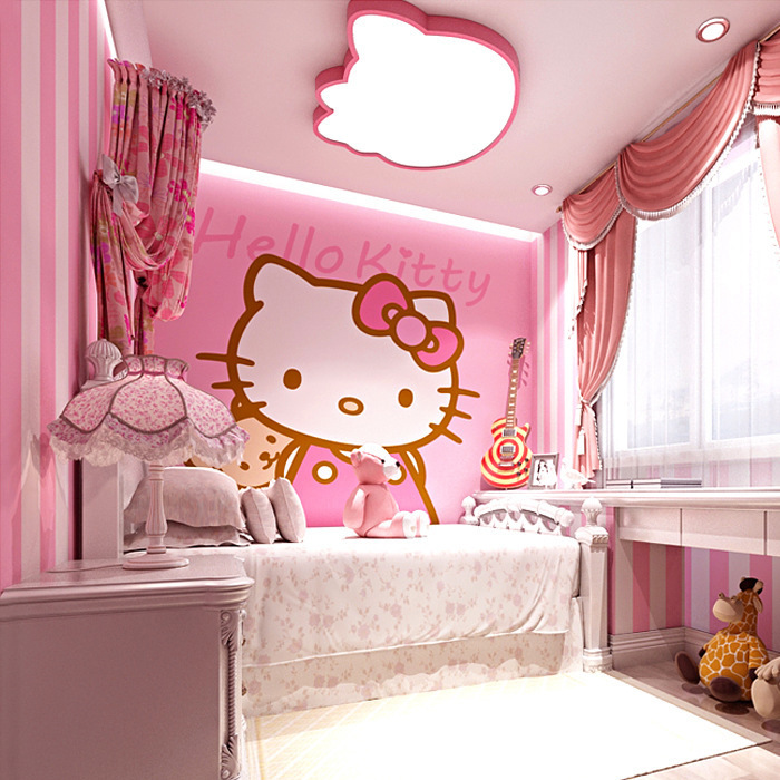 Modern Minimalist Korean Style Stripes Wallpaper Pink Princess CHILDREN'S Room Warm GIRL'S Room Bedroom Non-woven Wallpaper