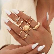 Letapi novo punk vintage anéis de dedo irregular geométrica cor do ouro anéis de metal para mulheres vintage jóias femininas