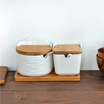 Kreatywny styl skandynawski ceramiczne przyprawy kuchenne zestaw słoików drewniana okładka solniczka przyprawa Jar narzędzie kuchenne tanie i dobre opinie Spice pepper shakers CN (pochodzenie) CE UE Ekologiczne Na stanie s2156