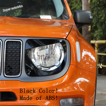 Lapetus Front Lights Headlight Angry Bird Style Cover Trim Fit For Jeep Renegade 2019 2020 ABS Accessories Exterior Carbon Fiber