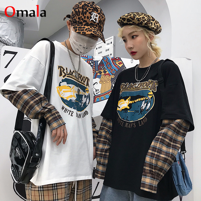 Spring Oversized Graphic Tees Women Harajuku Long Sleeve Tshirt Casual Plaid Patchwork T Shirt Tops Couples T-shirts Streetwear